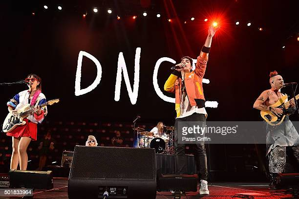 Musicians JinJoo Lee Jack Lawless Joe Jonas and Cole Whittle of rock band DNCE perform onstage during Power 961's Jingle Ball 2015 at Philips Arena...