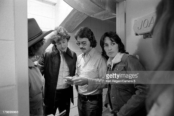 Musicians Joan Baez is photographed backstage during the Rolling Thunder Revue in November 1975 in Springfield Massachusetts CREDIT MUST READ Ken...