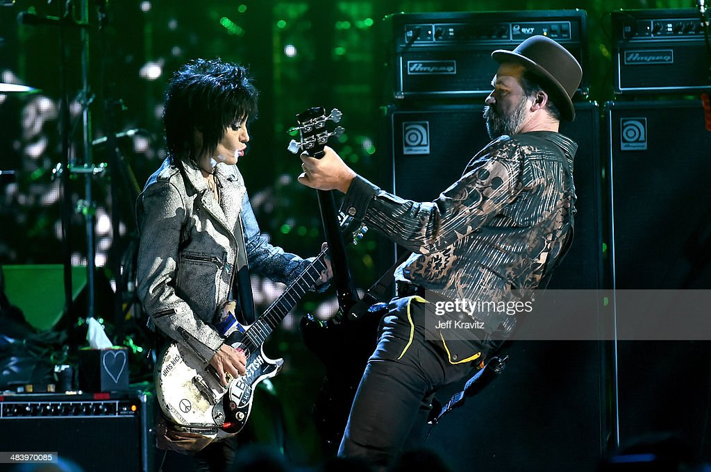 Musicians Joan Jett (L) and Krist Novoselic of Nirvana perform onstage at the 29th Annual Rock And Roll Hall Of Fame Induction Ceremony at Barclays Center of Brooklyn on April 10, 2014 in New York City.