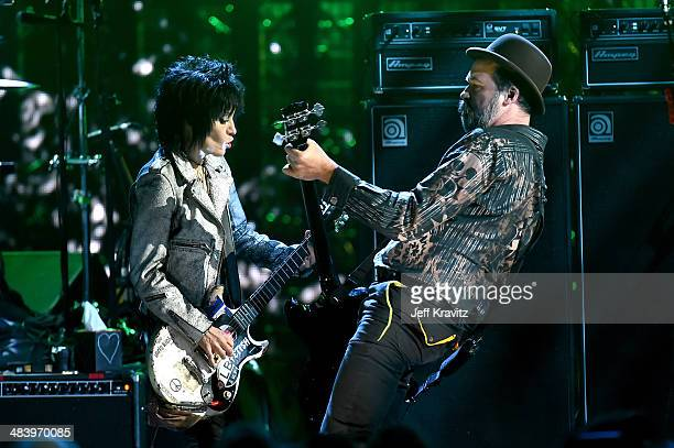 Musicians Joan Jett and Krist Novoselic of Nirvana perform onstage at the 29th Annual Rock And Roll Hall Of Fame Induction Ceremony at Barclays...