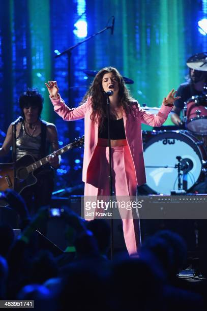 Musicians Joan Jett and Lorde perform onstage at the 29th Annual Rock And Roll Hall Of Fame Induction Ceremony at Barclays Center of Brooklyn on...