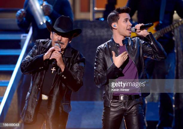 Musicians Joan Sebastian and Prince Royce perform onstage during the 13th annual Latin GRAMMY Awards held at the Mandalay Bay Events Center on...