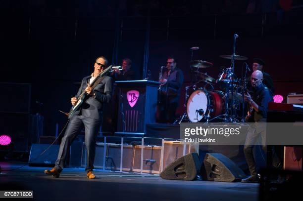 Musicians Joe Bonamassa and Michael Rhodes perform at The Royal Albert Hall on April 20 2017 in London United Kingdom