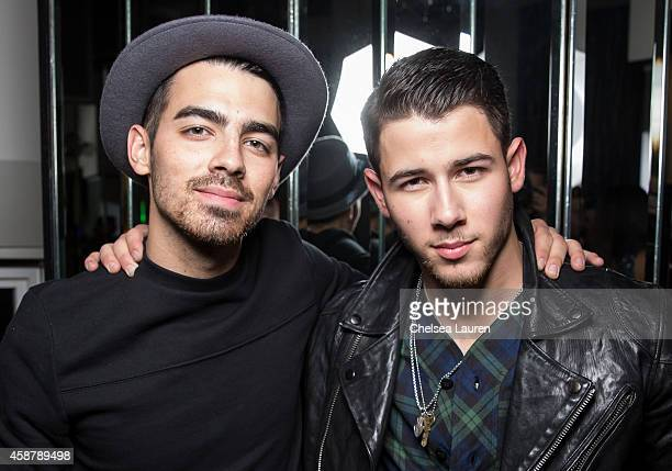 Musicians Joe Jonas and Nick Jonas attend Flaunt Magazine Hollywood Roosevelt Hotel and William Henry Release The Grind Issue Featuring Nick Jonas...