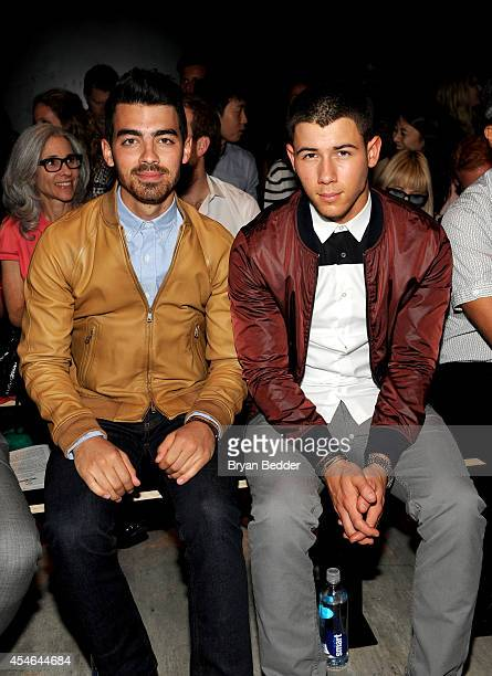 Musicians Joe Jonas and Nick Jonas attend the Todd Snyder fashion show during MercedesBenz Fashion Week Spring 2015 at The Pavilion at Lincoln Center...