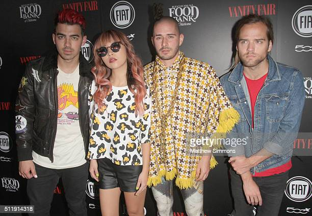 Musicians Joe Jonas JinJoo Lee Cole Whittle and Jack Lawless of DNCE attend Vanity Fair and FIAT Young Hollywood Celebration at Chateau Marmont on...