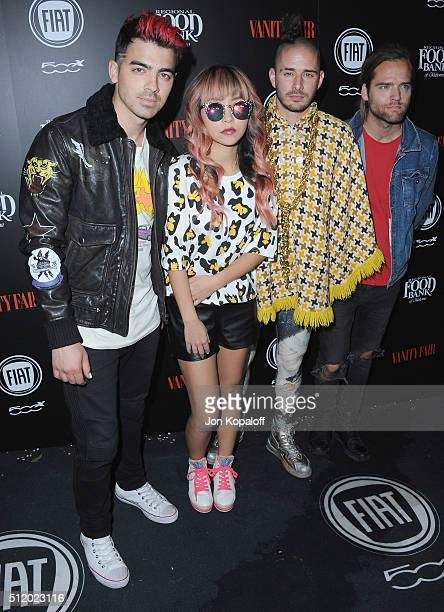 Musicians Joe Jonas JinJoo Lee Cole Whittle and Jack Lawless of DNCE arrive at Vanity Fair And FIAT Toast To 'Young Hollywood' at Chateau Marmont on...