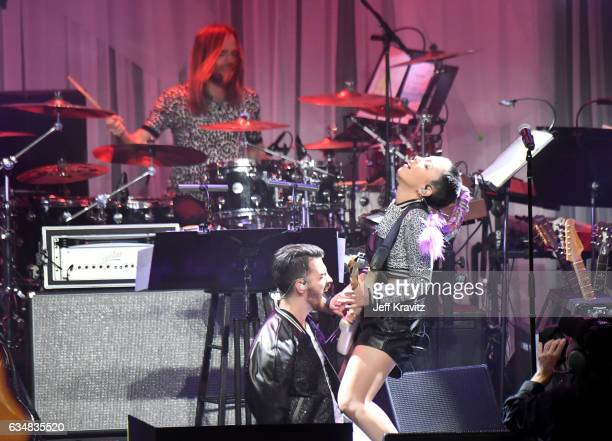 Musicians Joe Jonas L0 and JinJoo Lee of DNCE perform onstage during the 2017 PreGRAMMY Gala And Salute to Industry Icons Honoring Debra Lee at The...