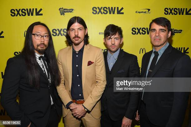 Musicians Joe Kwon Seth Avett Scott Avett and Bob Crawford of The Avett Brothers attend the 'May It Last A Portrait Of The Avett Brothers' premiere...