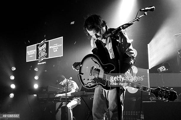Musicians Joe Lester and Brian Aubert of Silversun Pickups perform onstage during the celebration their album release with an exclusive performance...