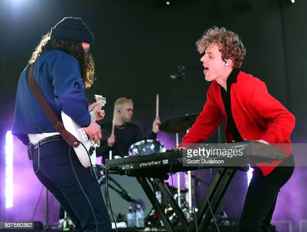 Musicians Joe Memmel, Ryan Winnen and Chase Lawrence of the band COIN perform onstage during The Pacific Sounds Music Festival at Pepperdine...