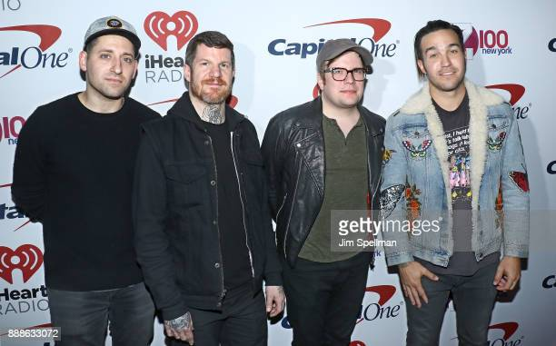 Musicians Joe Trohman Andy Hurley Patrick Stump and Pete Wentz of Fall Out Boy attends the Z100's iHeartRadio Jingle Ball 2017 at Madison Square...