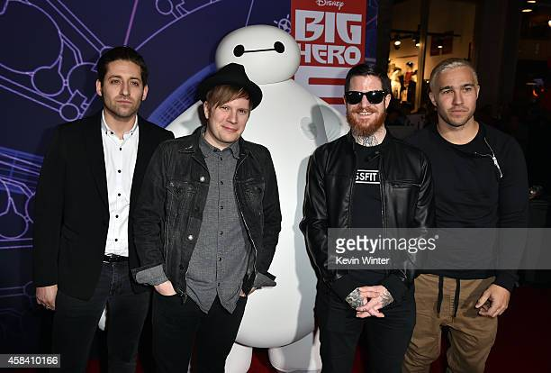 Musicians Joe Trohman Patrick Stump Andy Hurley and Pete Wentz of Fall Out Boy attend the premiere of Disney's Big Hero 6 at the El Capitan Theatre...