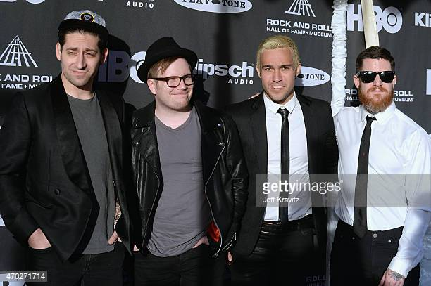 Musicians Joe Trohman, Patrick Stump, Pete Wentz and Andy Hurley of Fall Out Boy attend the 30th Annual Rock And Roll Hall Of Fame Induction Ceremony...
