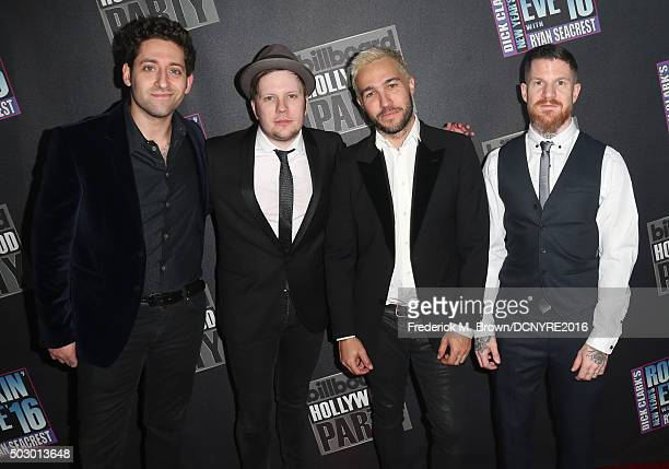 Musicians Joe Trohman Patrick Stump Pete Wentz and Andy Hurley of Fall Out Boy attend Dick Clark's New Year's Rockin' Eve with Ryan Seacrest 2016 on...
