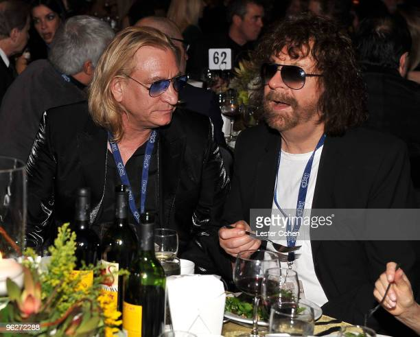 Musicians Joe Walsh and Jeff Lynne attend the 2010 MusiCares Person Of The Year Tribute To Neil Young at the Los Angeles Convention Center on January...