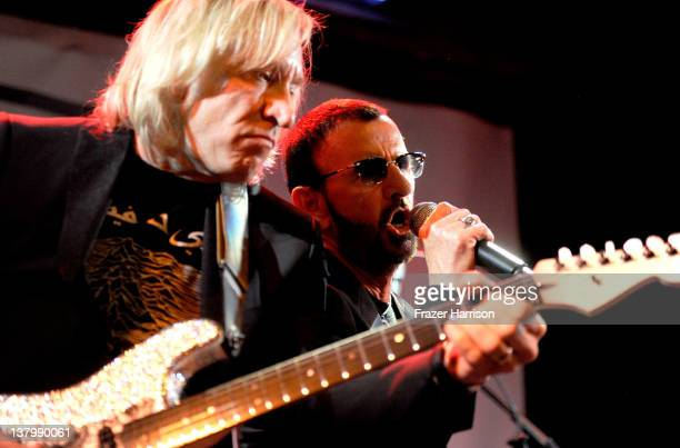 Musicians Joe Walsh and Ringo Starr perform at SiriusXM's Town Hall With Ringo Starr And Host Russell Brand And Moderator Don Was Live On SiriusXM's...