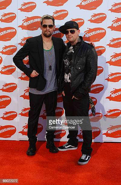 Musicians Joel and Benji Madden of Good Charlotte arrive for the Australian Nickelodeon Kids' Choice Awards 2009 at Hisense Arena on November 13 2009...