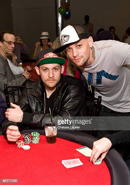 Musicians Joel Madden and Benji Madden attend the 3rd Annual Stars Strikes Celebrity Bowling and Poker Tournament at PINZ on March 5 2009 in Studio...
