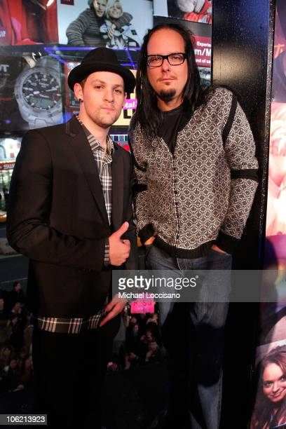 """Musicians Joel Madden of Good Charlotte and Jonathan Davis of Korn attend MTV's TRL """"Total Finale Live"""" at the MTV Studios in Times Square on..."""
