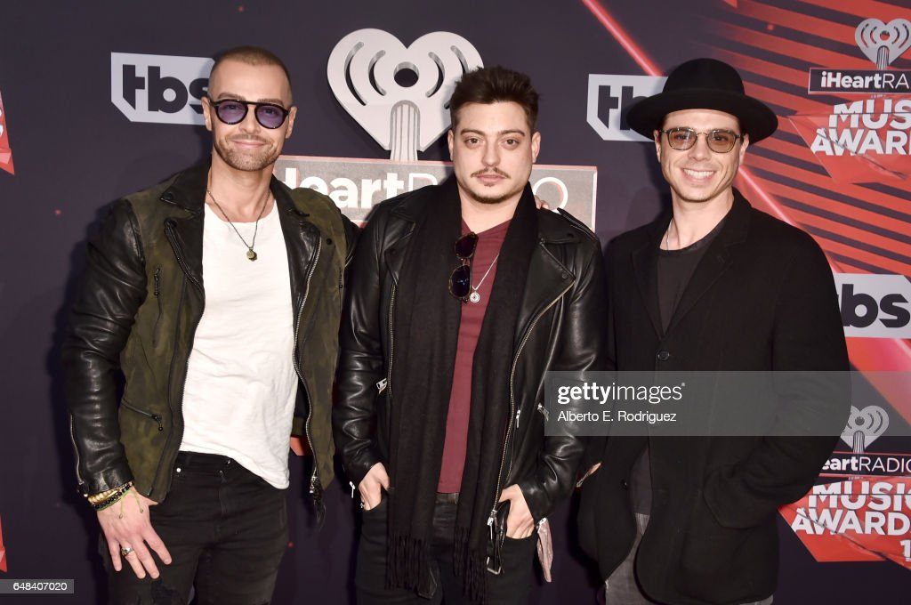 Musicians Joey Lawrence, Andrew Lawrence, and Matthew Lawrence of The Lawrence Brothers attend the 2017 iHeartRadio Music Awards which broadcast live on Turner's TBS, TNT, and truTV at The Forum on March 5, 2017 in Inglewood, California.