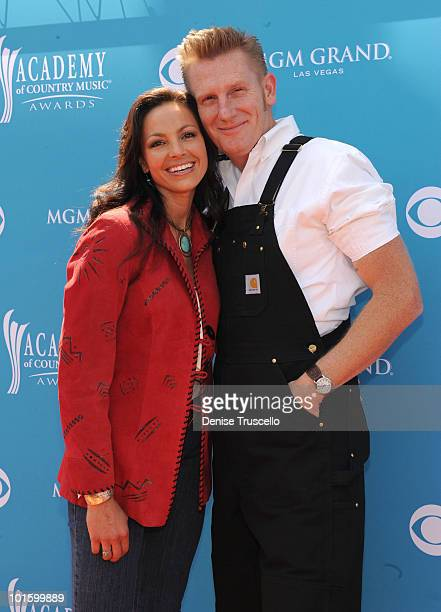 Musicians Joey Martin and Rory Feek of the band Joey + Rory arrive for the 45th Annual Academy of Country Music Awards at the MGM Grand Garden Arena...