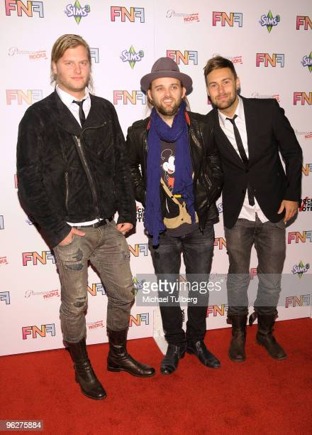 Musicians Johann Carlsson Chad Wolf and Rickard Goransson of the band Carolina liar arrive at the 13th Annual Friends And Family GRAMMY Event held at...