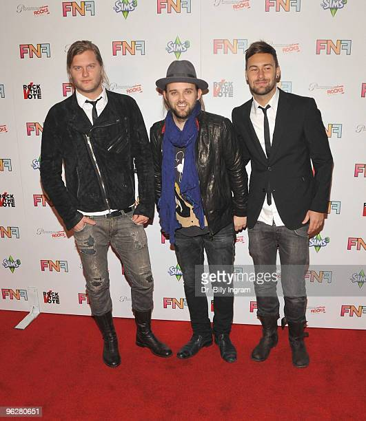 Musicians Johann Carlsson Chad Wolf and Rickard Goransson of the band Carolina liar arrive at the Friends And Family GRAMMY Event at Paramount...
