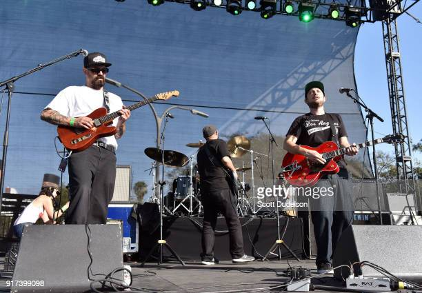 Musicians John Butcher Devin Morrison and Chiquis Lozoya of The Expanders perform onstage during day 2 of the One Love Cali Reggae Festival at The...
