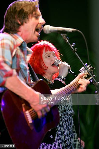 Musicians John Doe and Exene Cervenka of the band X perform onstage at the ASCAP Tribeca Music Lounge held at the Canal Room during the 2007 Tribeca...