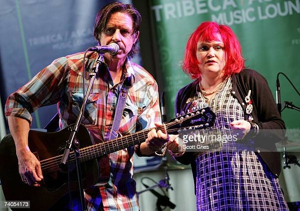 Musicians John Doe and Exene Cervenka of the band 'X' perform onstage at the ASCAP Tribeca Music Lounge held at the Canal Room during the 2007...