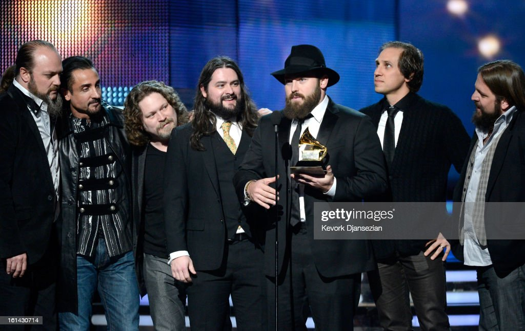 Musicians John Hopkins, Daniel Reyes, Coy Bowles, Clay Cook, Zac Brown, Jimmy Martini and Chris Fryar of Zac Brown Band accept Best Country Album award for 'Uncaged' onstage at the 55th Annual GRAMMY Awards at Staples Center on February 10, 2013 in Los Angeles, California.
