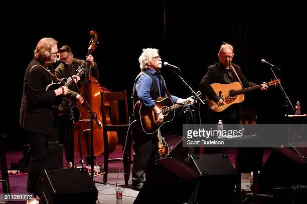 Musicians John Jorgenson Mark Fain Chris Hillman and Herb Pedersen perform onstage in support of Chris Hillman's album 'Bidin My Time' at Thousand...