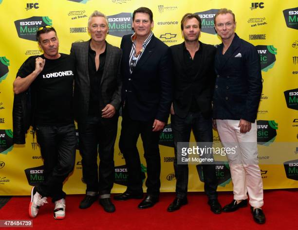 Musicians John Keeble Martin Kemp Tony Hadley Steve Norman and Gary Kemp of Spandau Ballet attend SXSW Interview Spandau Ballet during the 2014 SXSW...