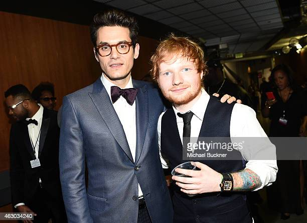 Musicians John Mayer and Ed Sheeran attend The 57th Annual GRAMMY Awards at STAPLES Center on February 8 2015 in Los Angeles California