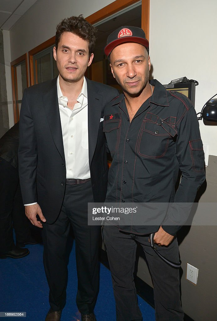Musicians John Mayer (L) and Tom Morello attend the 28th Annual Rock and Roll Hall of Fame Induction Ceremony at Nokia Theatre L.A. Live on April 18, 2013 in Los Angeles, California.