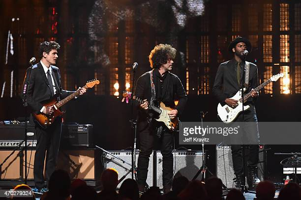 Musicians John Mayer Doyle Bramhall II and Gary Clark Jr perform a Stevie Ray Vaughan and Double Trouble song a onstage during the 30th Annual Rock...