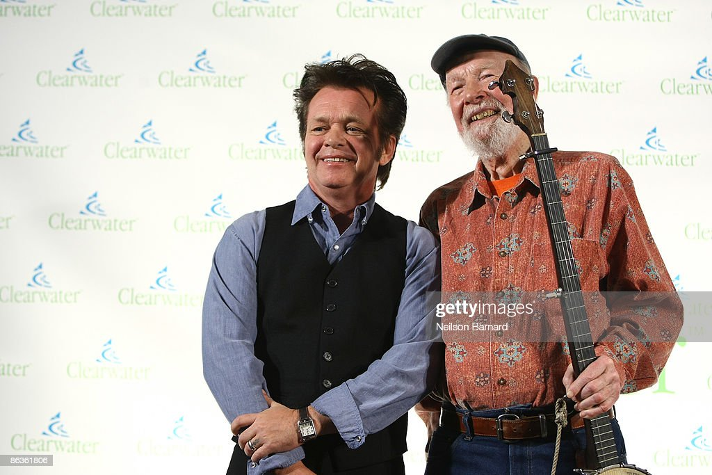 Musicians John Mellencamp and Pete Seeger attend the Clearwater Benefit Concert celebrating Pete Seeger's 90th Birthday at Madison Square Garden on May 3, 2009 in New York City.