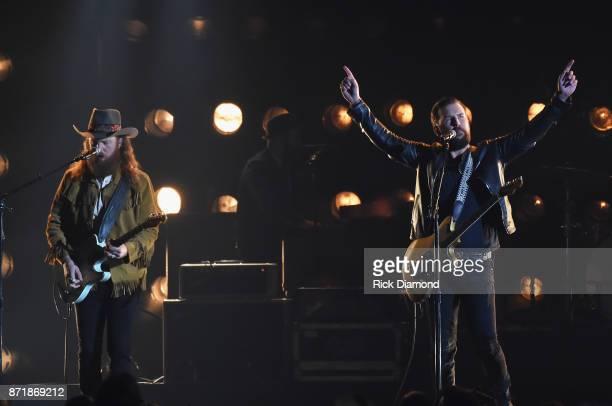 Musicians John Osborne and TJ Osborne of Brothers Osborne perform onstage at the 51st annual CMA Awards at the Bridgestone Arena on November 8 2017...