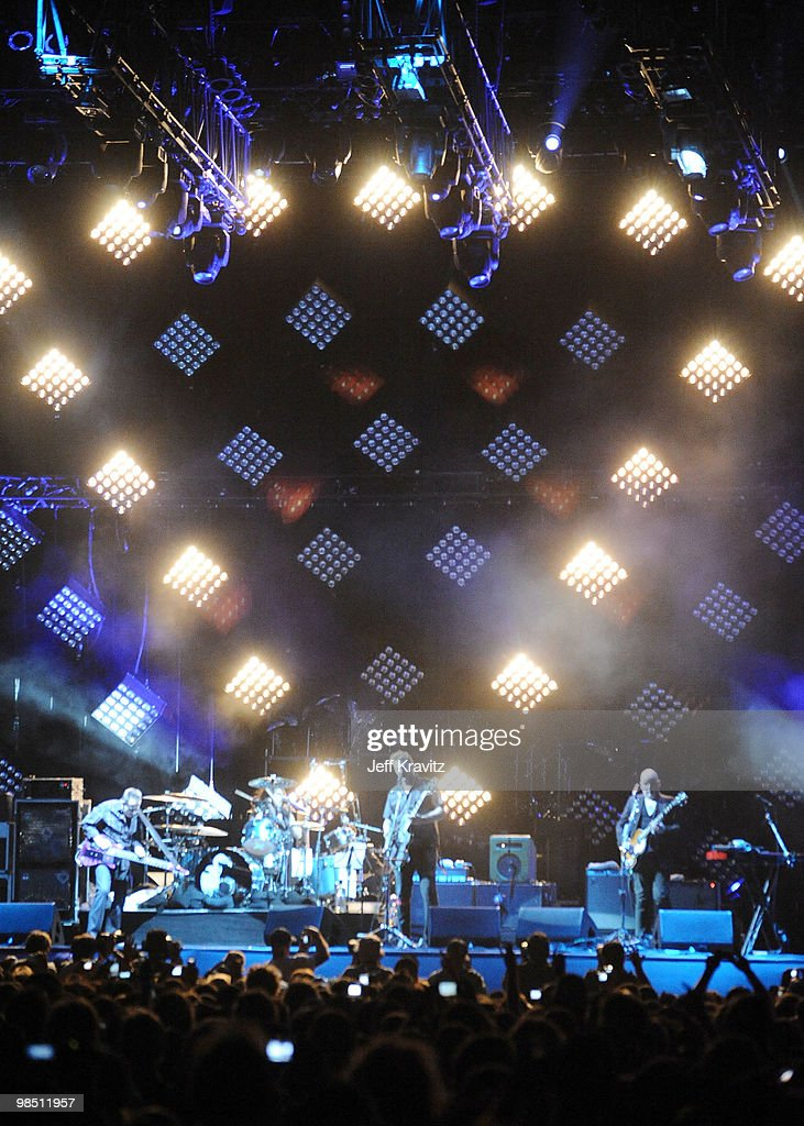 Musicians John Paul Jones, Dave Grohl, Josh Homme and Alain Johannes of the band Them Crooked Vultures perform during day 1 of the Coachella Valley Music & Arts Festival 2010 held at The Empire Polo Club on April 16, 2010 in Indio, California.