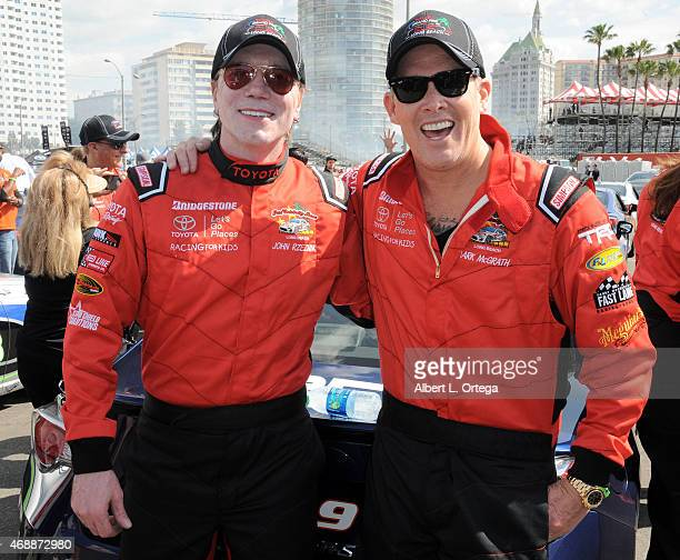Musicians John Rzeznik and Mark McGrath participate in press day for Pro/Celebrity Race at Toyota Grand Prix of Long Beach on April 7 2015 in Long...