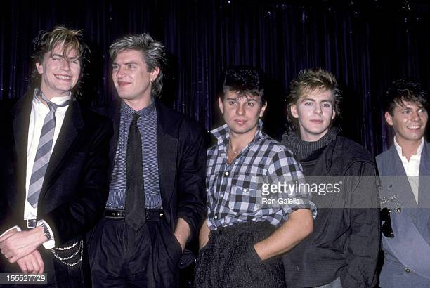 Musicians John Taylor Simon Le Bon Roger Taylor Nick Rhodes and Andy Taylor of Duran Duran attend the Duran Duran Press Conference to Announce the...