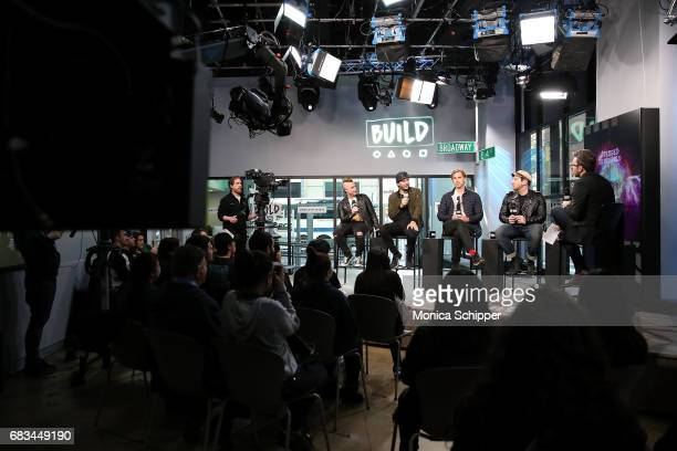Musicians Johnny Christ M Shadows Brooks Wackerman and Zacky Vengeance of band Avenged Sevenfold speak on stage during Build Presents Avenged...