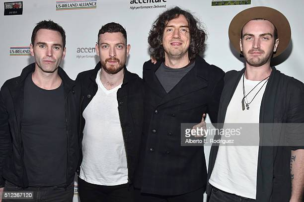 Musicians Johnny McDaid Nathan Connolly Gary Lightbody and Paul Wilson of Snow Patrol attend the Oscar Wilde Awards at Bad Robot on February 25 2016...