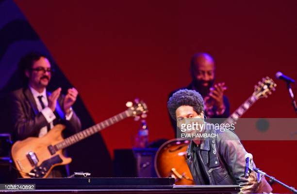 Musicians Jon Batiste and The DapKings perform on the main stage at the Monterey Jazz Festival September 22 2018