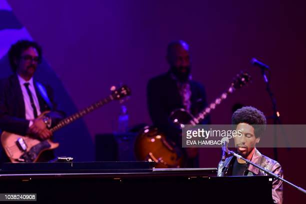 Musicians Jon Batiste and The DapKings perform on the main stage at the Monterey Jazz Festival in Monterey California September 22 2018