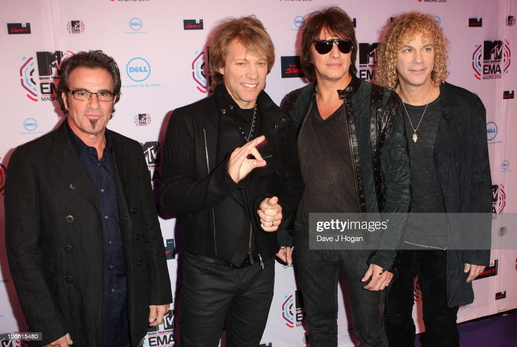 Musicians Jon Bon Jovi, Richie Sambora, Tico Torres and David Bryan of Bon Jovi attend the MTV Europe Awards 2010 at the La Caja Magica on November 7, 2010 in Madrid, Spain.