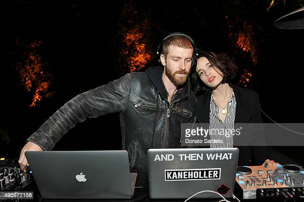 Musicians Jon Foster and Chelsea Tyler of KANEHOLLER perform onstage at private dinner hosted by Farfetch Erica Pelosini Angelique Soave DJ Kiss to...