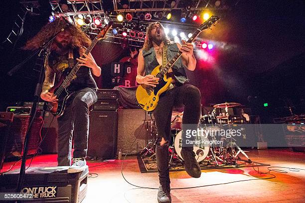 Musicians Jon Harvey and Jeremy Widerman of Monster Truck perform on stage at House of Blues San Diego on April 17 2016 in San Diego California