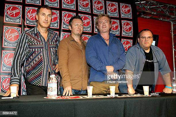 Musicians Jon King Dave Allen Andy Gill and Hugo Burnham of the band Gang of Four attend the grand opening of the Flagship West Coast Virgin...